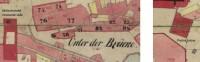Orientace domů ULužického semináře a západovýchodní rovnoběžková linie kPrašné bráně na císařských otiscích (1841)